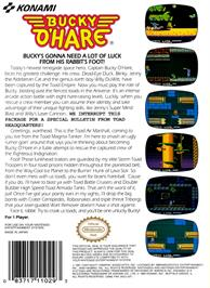 Box back cover for Bucky O'Hare on the Nintendo NES.