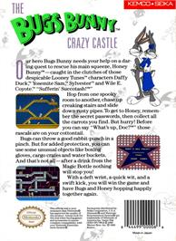 Box back cover for Bugs Bunny Crazy Castle on the Nintendo NES.
