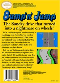 Box back cover for Bump 'n' Jump on the Nintendo NES.