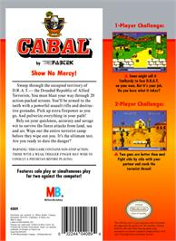 Box back cover for Cabal on the Nintendo NES.