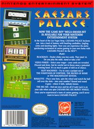 Box back cover for Caesar's Palace on the Nintendo NES.