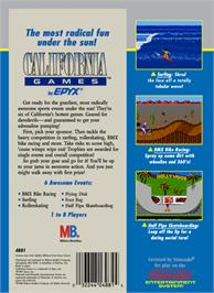 Box back cover for California Games on the Nintendo NES.