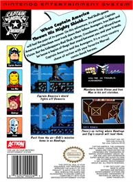 Box back cover for Captain America and The Avengers on the Nintendo NES.
