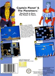 Box back cover for Captain Planet and the Planeteers on the Nintendo NES.