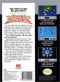 Box back cover for Captain Sky Hawk on the Nintendo NES.