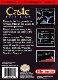 Box back cover for Castle Excellent on the Nintendo NES.