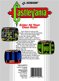 Box back cover for Castlevania on the Nintendo NES.