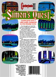 Box back cover for Castlevania 2: Simon's Quest on the Nintendo NES.
