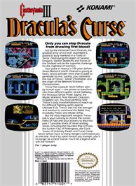 Box back cover for Castlevania III: Dracula's Curse on the Nintendo NES.