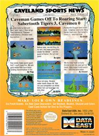 Box back cover for Caveman Ugh-Lympics on the Nintendo NES.