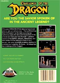 Box back cover for Challenge of the Dragon on the Nintendo NES.