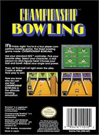 Box back cover for Championship Bowling on the Nintendo NES.