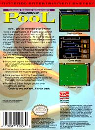 Box back cover for Championship Pool on the Nintendo NES.