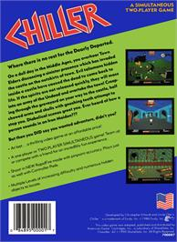 Box back cover for Chiller on the Nintendo NES.