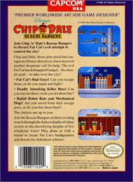 Box back cover for Chip'n Dale: Rescue Rangers on the Nintendo NES.