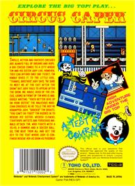 Box back cover for Circus Caper on the Nintendo NES.