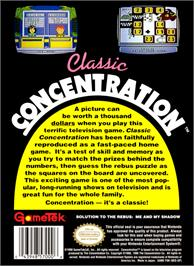 Box back cover for Classic Concentration on the Nintendo NES.