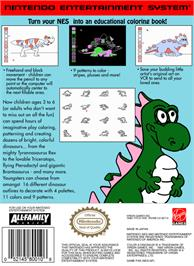 Box back cover for Color a Dinosaur on the Nintendo NES.