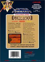 Box back cover for Commando on the Nintendo NES.
