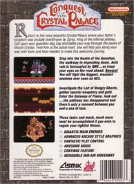 Box back cover for Conquest of the Crystal Palace on the Nintendo NES.