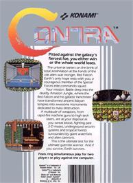 Box back cover for Contra on the Nintendo NES.