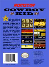 Box back cover for Cowboy Kid on the Nintendo NES.