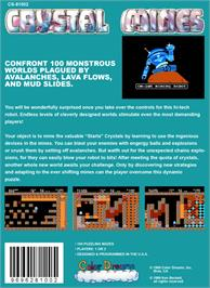 Box back cover for Crystal Mines on the Nintendo NES.