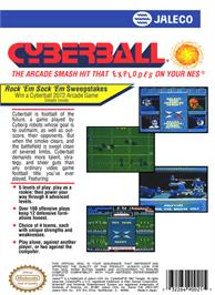 Box back cover for Cyberball on the Nintendo NES.