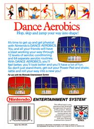 Box back cover for Dance Aerobics on the Nintendo NES.