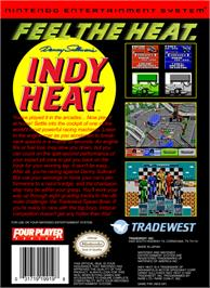 Box back cover for Danny Sullivan's Indy Heat on the Nintendo NES.