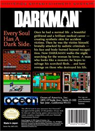 Box back cover for Darkman on the Nintendo NES.