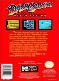 Box back cover for Dash Galaxy in the Alien Asylum on the Nintendo NES.