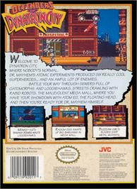 Box back cover for Defenders of Dynatron City on the Nintendo NES.