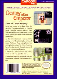 Box back cover for Destiny of an Emperor on the Nintendo NES.
