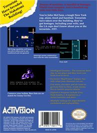 Box back cover for Die Hard on the Nintendo NES.