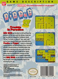 Box back cover for Dig Dug II on the Nintendo NES.