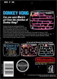Box back cover for Donkey Kong on the Nintendo NES.