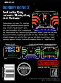 Box back cover for Donkey Kong 3 on the Nintendo NES.