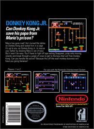 Box back cover for Donkey Kong Junior on the Nintendo NES.
