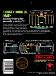 Box back cover for Donkey Kong Junior Math on the Nintendo NES.