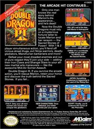 Box back cover for Double Dragon 3 - The Rosetta Stone on the Nintendo NES.
