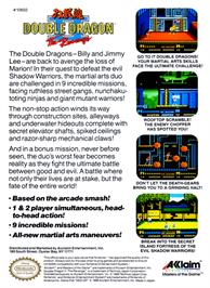 Box back cover for Double Dragon II - The Revenge on the Nintendo NES.