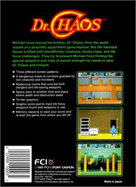 Box back cover for Dr. Chaos on the Nintendo NES.