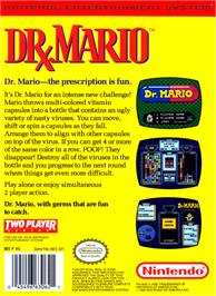 Box back cover for Dr. Mario on the Nintendo NES.