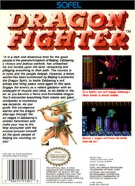 Box back cover for Dragon Fighter on the Nintendo NES.
