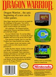 Box back cover for Dragon Warrior on the Nintendo NES.