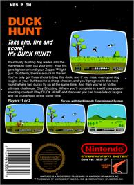 Box back cover for Duck Hunt on the Nintendo NES.