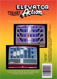 Box back cover for Elevator Action on the Nintendo NES.