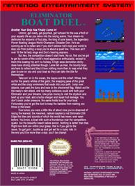 Box back cover for Eliminator Boat Duel on the Nintendo NES.