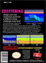 Box back cover for Excite Bike on the Nintendo NES.